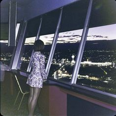 Vintage Las Vegas photo - enjoying the view from the  Landmark Hotel & Casino - Las Vegas, NV