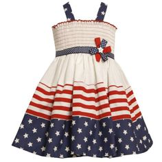 a40034c107a Size-4T BNJ-2978M WHITE RED BLUE STARS and STRIPES SMOCKED Americana  Patriotic Spring