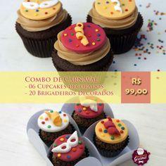 Combo de Carnaval - 06 Cupcakes e 20 Brigadeiros Decorados