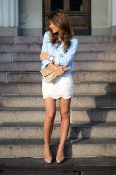 Lace skirt, denim blouse and nude heels