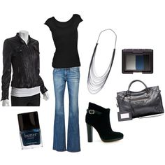 Leather jacket with jeans - a harder edge look while still staying classy.
