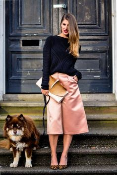 21 Ways to Wear the Culottes Fashion Trend - pink satin culottes paired with a navy knit sweater