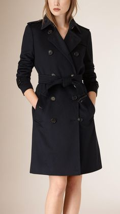 Kensington Fit Cashmere Trench Coat Indigo | Burberry