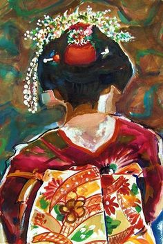 Figurative geisha paintings   Elise - by Jo Hards from Doll Art Artist Made Art Gallery