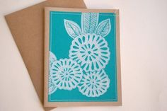 Hand Block Printed Note Cards - Great lesson idea for linoleum prints