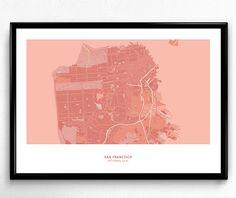 San Francisco City Map Poster Art Monochromatic Color de FlatMates en Etsy