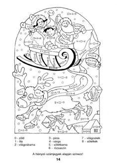 Színező 10-ig - kisferenc.qwqw.hu Hidden Pictures, Color By Numbers, 1st Grade Math, Math Activities, Teacher, Handmade, Classroom Ideas, Winter, Activities