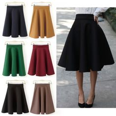 Vintage-Hepburn-Lady-Street-High-Waist-Swing-Ball-Gown-A-Line-Pleated-Midi-Skirt