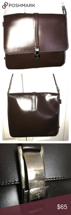 Trussardi dark brown leather handbag Trussardi handbag. Hardly used. Strap can be adjusted to shorter length. Classic styling with silver buckles. Few blemishes Trussardi Bags Shoulder Bags