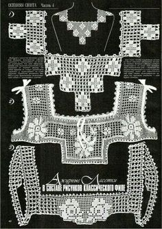"Photo from album ""Дуплет on - Best Sewing Tips Col Crochet, Crochet Motifs, Crochet Collar, Crochet Blouse, Crochet Chart, Filet Crochet, Irish Crochet, Crochet Stitches, Knitting Patterns"