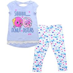 SHOPKINS Girls' 2 Piece Cap Sleeve Top & Legging Set Sizes: 4-6X In Blue/Multi Print (6). 2 PIECE SET Coordinating Top & Leggings. SHOPKINS TOP Short Cap Sleeves With Shopkins Graphic Print. Front Has Lace Trim On Hem. LEGGINGS Elastic Waistband; Pull-on Styling; Multi Colored Print; Hits Above Ankle. FABRIC: TOP: 60% COTTON 40% POLYESTER; LEGGINGS: 58% COTTON 38% POLYESTER 4% SPANDEX. CARE: Machine Wash With Like Colors, Tumble Dry Low.