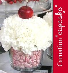 "Carnation ""cupcake"" Arrangement - pink for the shower candy table arrangements?  What do you think Heather?"