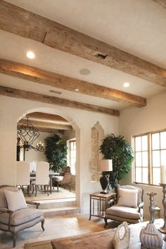 Beams for Lodge Ceiling Reclaimed Barn Wood Mantel Beams, Mantel Beams, Antique Barrel Collection Interior Design Living Room, Living Room Designs, Room Interior, Interior Ideas, Home Living Room, Living Room Decor, Fixer Upper Living Room, French Living Rooms, Spacious Living Room
