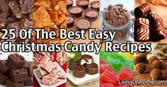 25 of the Best Easy Christmas Candy Recipes And Tips - Living on a Dime To Grow Rich Easy Christmas Candy Recipes, Christmas Desserts, Christmas Treats, Christmas Baking, Holiday Treats, Holiday Recipes, Christmas Cookies, Holiday Foods, Homemade Peanut Butter Cups
