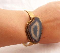 Hippie Chic Geode Slice Cuff Vintage Bracelet by RiordanStudio, $75.00