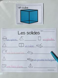 French spring 3D shapes- Les solides! As part of the popular French Write the Room sets, French Math around the Room sets are great active learning activities where students can practice their math skills while moving and being engaged in learning! Students learn their French 3D shape words in this spring themed activity. Engage In Learning, Student Learning, Learning Activities, French Tenses, French Adjectives, French Pictures, French Resources, World Languages, 3d Shapes