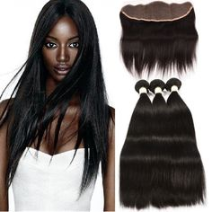 Ms Taj 7A Brazilian Hair Straight 3 Bundles With Frontal Closure 100% Unprocessed Human Hair Weave (12 14 16+10) -- Awesome products selected by Anna Churchill