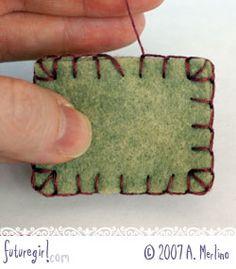 futuregirl craft blog : Tutorial: Hand Sew Felt Using Blanket Stitch as well as crochet ideas and nice links
