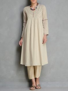 Beige Pintuck & Embroidered Cotton Kurta by Radha Pakistani Dresses, Indian Dresses, Indian Outfits, Kurti Patterns, Dress Patterns, Sewing Patterns, Kurta Designs, Blouse Designs, Casual Dresses