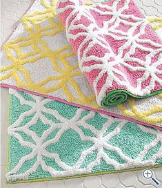 lilly pulitzer - we got bathroom rugs in the teal -- they are awesome!