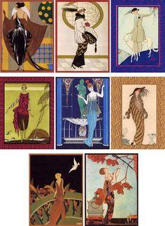 erte-esque Vintage art deco women illustrations assorted George Barbier set of 8 envelopes #Handmade #AnyOccasion