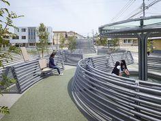 Kikuchi Pocket Park, Using bamboo shapes as inspiration.