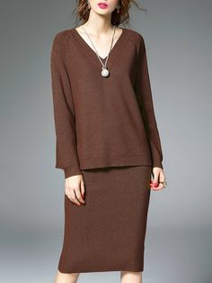 354400ed9d Shop Midi Dresses - Black V Neck Long Sleeve Two Piece Plain Sweater Dress  online.