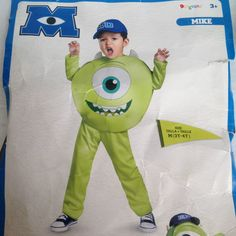 Disney Mike Monsters University Childs Unisex 3 pc Costume Size M 3T - 4T Worn 1 #Disguise #CompleteCostume