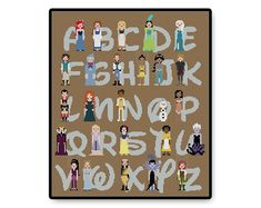 Disney alphabet cross stitch pattern.