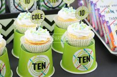 Laser Tag Party Ideas from AmysPartyIdeas.com | #lasertag #party | Laser Tag Party Cupcakes