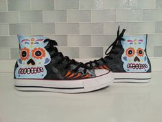 Sugar Skull Shoes Custom Converse Hand Painted от catinthehatetsy
