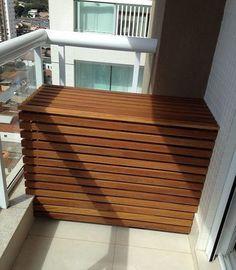 Atelier do Zero Apartment Interior Design, Interior Decorating, Hide Ac Units, Air Conditioner Cover Outdoor, Balcony Bar, Diy Cupboards, Small Balcony Design, Greenery Centerpiece, Home Upgrades
