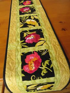 Quilted Homemade Table Runner Bright Flowers on Handmade Artists' Shop $40
