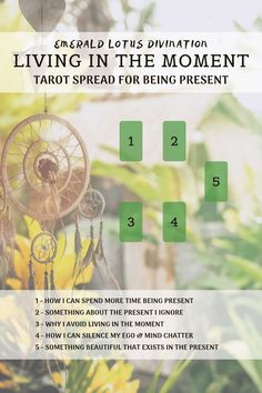 Tarot Spread - Living in the Moment: Being Present — Emerald Lotus Divination therapy Tarot Card Spreads, Tarot Cards, Astrology Chart, Tarot Astrology, Astrology Compatibility, Free Tarot, Tarot Learning, Tarot Readers, Card Reading