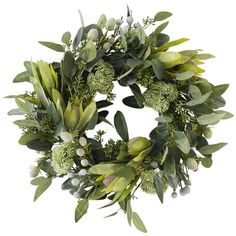 43cm Green Australian Flora Mix Wreath