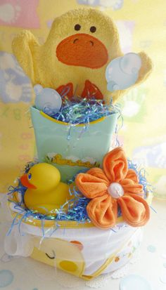Just Ducky Diaper Cake..Duck Baby Shower..Duck by mollbelldesigns