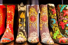 Amazing, unique boots from The Velvet Road. :) ... We can't wait to walk into The Velvet Road booth at #MarthasMarket this year.