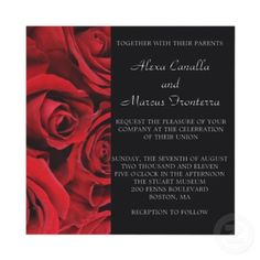 Elegant red rose and black accents wedding invitations show LOVE!
