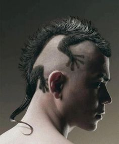 Avant-garde funky lizard haircut. I don't usually put male cuts on here but this is rad!