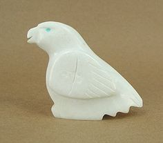 "Navajo Sacred Eagle Fetish Carving ""Peace"" - made from alabaster with turquoise eyes."
