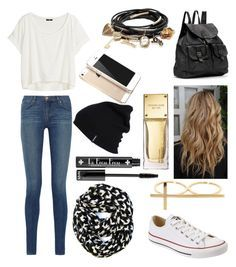 """""""school outfit"""" by mackinzimarie ❤ liked on Polyvore featuring J Brand, H&M,"""