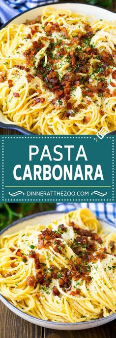 This pasta carbonara is spaghetti tossed in a creamy egg based sauce with plenty of bacon and parmesan cheese. A classic Italian dish ready in 20 minutes! Bacon Recipes For Dinner, Yummy Pasta Recipes, Pasta Salad Recipes, Cooking Recipes, Noodle Recipes, Pasta Carbonara, Pasta Dishes, Food Dishes, Rice Dishes