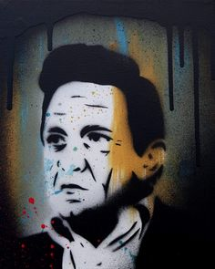 Johnny Cash on canvas 25*30 cm #stencilart #johnnycash