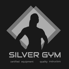 A creative template for a gym logo. A dark background with illustration of gym member and white text displaying 'silver gym'.