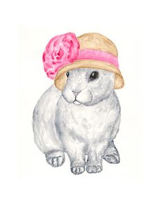Rabbit art, spring easter bunny, original watercolor rabbit painting