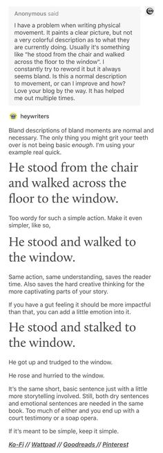 Writing tips action Creative Writing Prompts, Book Writing Tips, Writing Words, Writing Quotes, Writing Resources, Writing Help, Writing Skills, Fiction Writing, Writer Tips