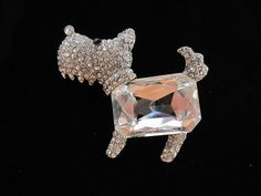 Cute Scotty Dog Brooch Scarf Pin with Large Rhinestone and Diamante Silver Tone