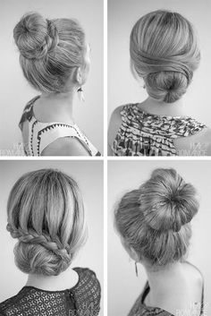 Some great variations on the usual sock bun.