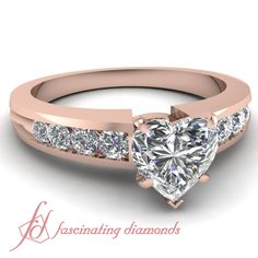Heart Shaped and Round Diamonds 14K Rose Gold Side Stone Engagement Ring in Channed Setting || Channel Band Ring