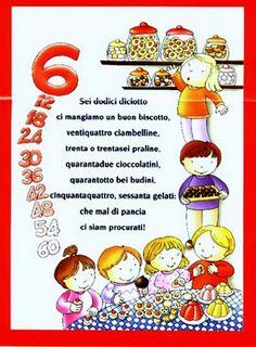 Filastrocca per memorizzare la tabellina del sei. Montessori, Math Tables, Learn To Speak Italian, Simple Math, Learning Italian, My Little Girl, First Grade, Back To School, Homeschool